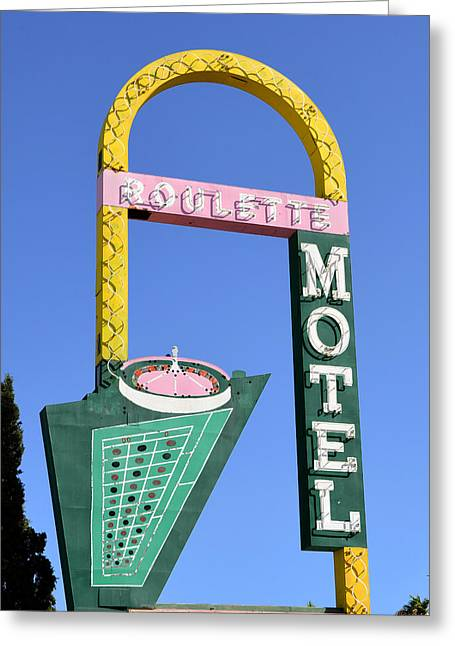 Roulettes Greeting Cards - Roulette Motel Sign 1960s Greeting Card by David Lee Thompson