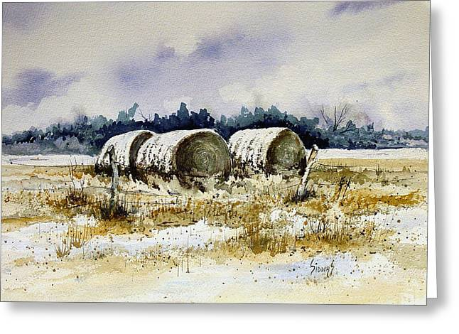 Bales Paintings Greeting Cards - Round Bales Greeting Card by Sam Sidders