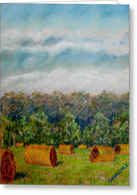 Hay Bales Pastels Greeting Cards - Round Bales Greeting Card by Tim  Swagerle