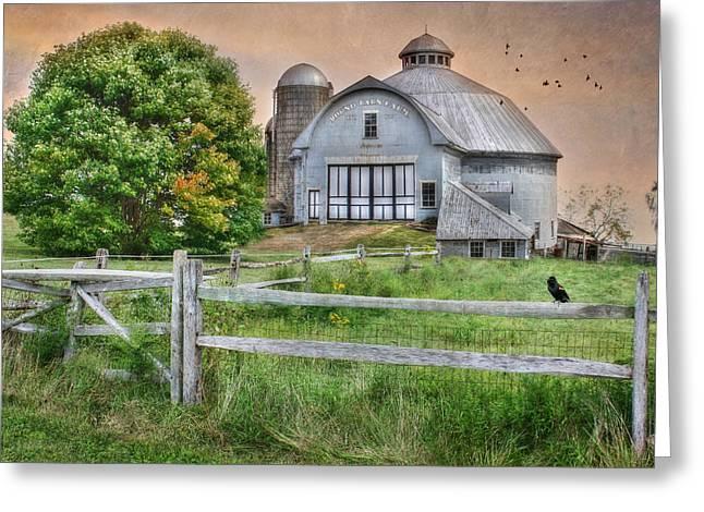 Barnyard Digital Greeting Cards - Round Barn Farm Greeting Card by Lori Deiter