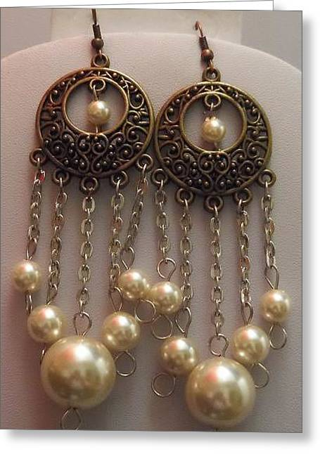 Chandelier Earrings Greeting Cards - Round Brass Filigree Pearl Silver Chandelier Earrings  Greeting Card by Kimberly Johnson