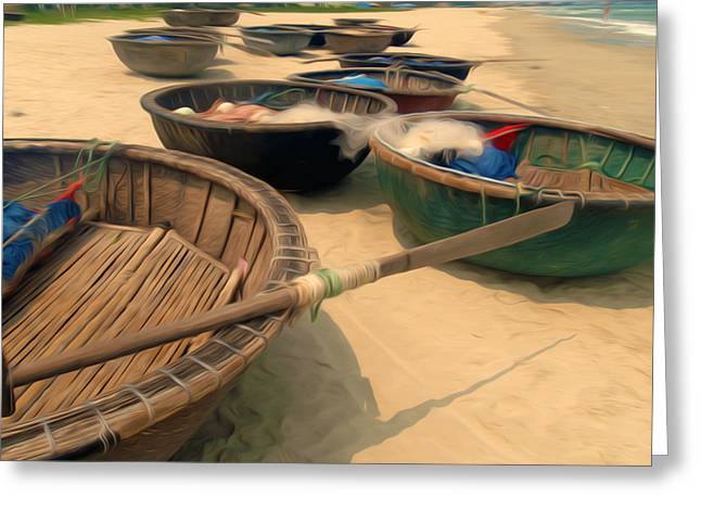 China Beach Greeting Cards - Round fishing boat  Greeting Card by Lanjee Chee