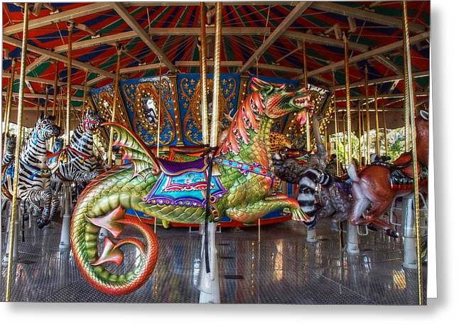 Galloper Greeting Cards - Round Goes the Dragon Greeting Card by Linda Unger