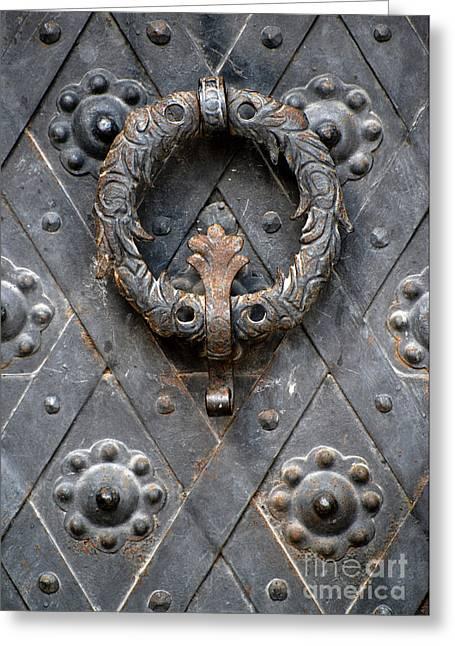 Pull Greeting Cards - Round metal doorknob Greeting Card by Jaroslaw Blaminsky