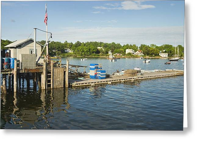 Blue Sailboat Greeting Cards - Round Pond on The Coast Of Maine Greeting Card by Keith Webber Jr