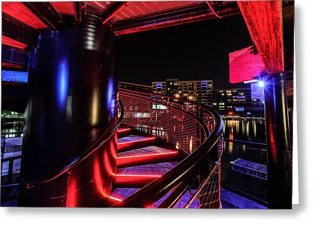 Riverwalk Greeting Cards - Round Staircase Greeting Card by Randy Scherkenbach