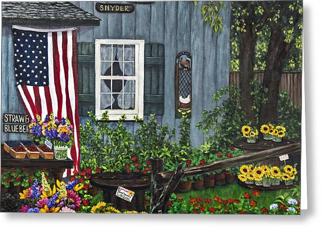 Farm Stand Greeting Cards - Round Swamp Farm by Alison Tave Greeting Card by Sheldon Kralstein