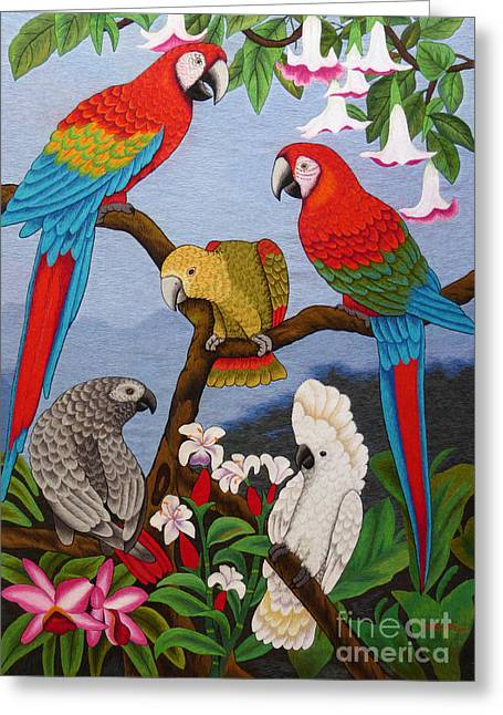 Wild Life Tapestries - Textiles Greeting Cards - Round Table Discussion hand embroidery Greeting Card by To-Tam Gerwe