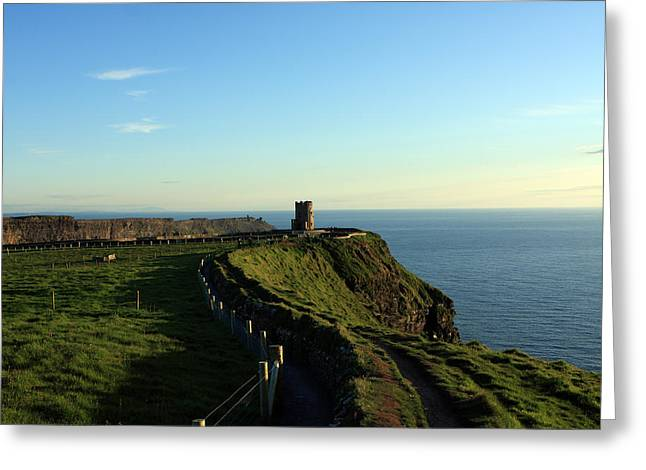 Most Photographs Greeting Cards - Round Tower On The Cliffs Of Moher Greeting Card by Aidan Moran