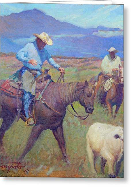 Round Up At Star Ranch Greeting Card by Ernest Principato