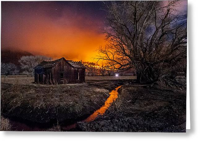 Shack Photographs Greeting Cards - Round Fire Greeting Card by Cat Connor