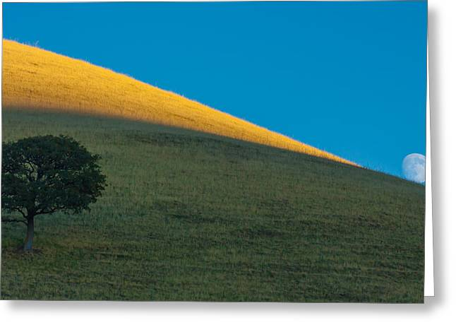 Moonrise Greeting Cards - Round Valley Moonrise Greeting Card by Marc Crumpler