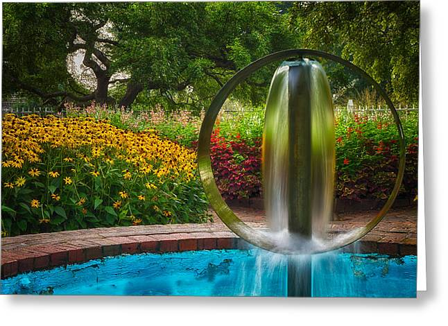 Prescott Greeting Cards - Round Water Sculpture Prescott Park Garden  Greeting Card by Jeff Sinon
