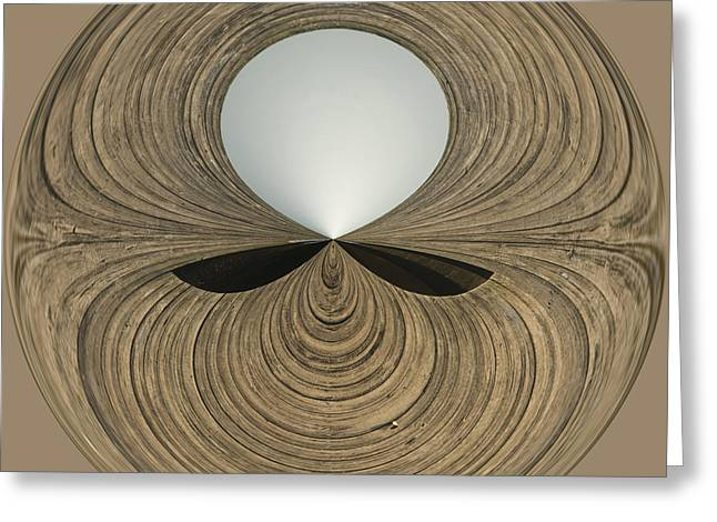 Round Wood Greeting Card by Anne Gilbert
