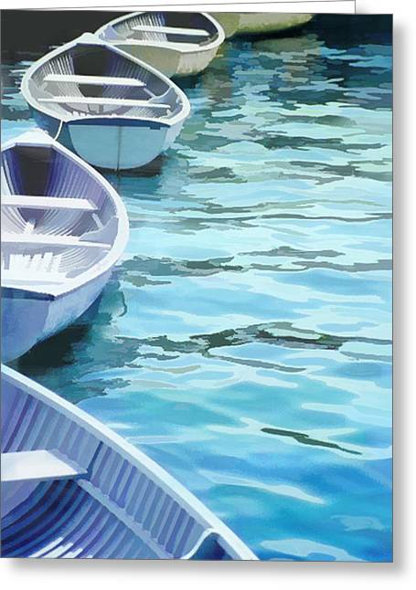 Rounded Row Of Rowboats Greeting Card by Elaine Plesser