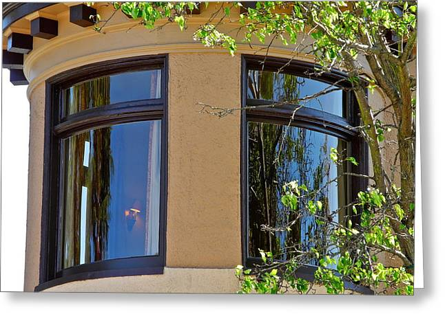 Sausalito Greeting Cards - Rounded Victorian Window Greeting Card by Kirsten Giving