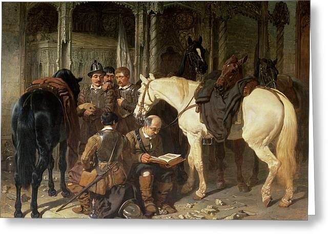 Civil Greeting Cards - Roundheads At An Arundel Church, 1847-51 Greeting Card by John Frederick Herring Snr