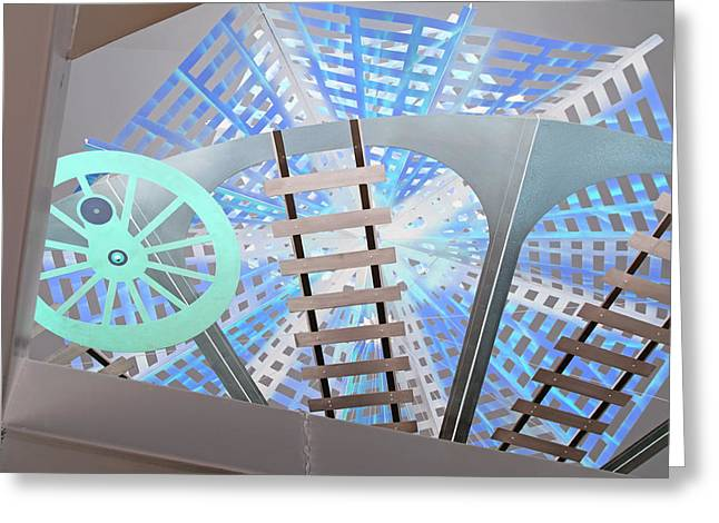 Metal Sculpture Greeting Cards - Roundhouse Abstract Greeting Card by Suzanne Gaff