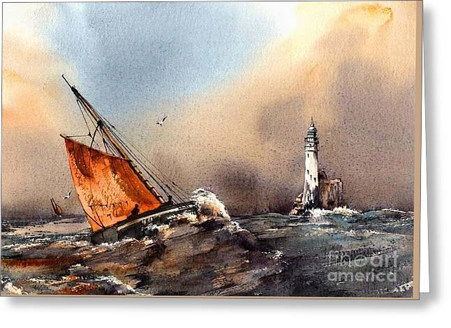 West Cork Greeting Cards - Rounding the Fastnet Greeting Card by Val Byrne