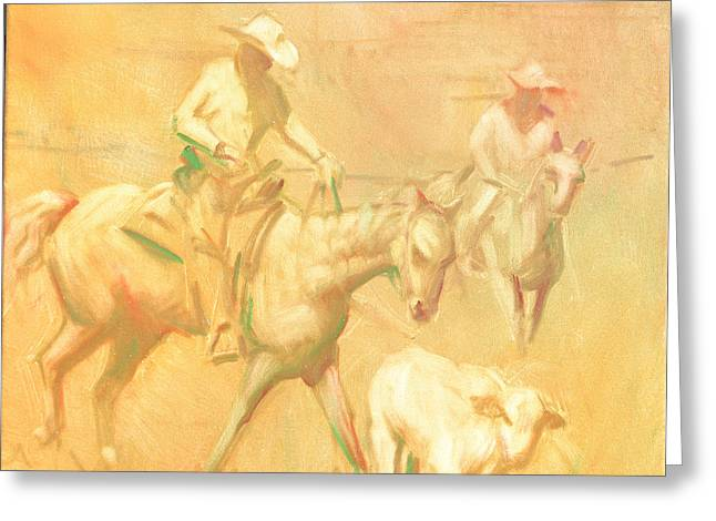 Cowboy Sketches Greeting Cards - Rounding up stray at Star Ranch Greeting Card by Ernest Principato