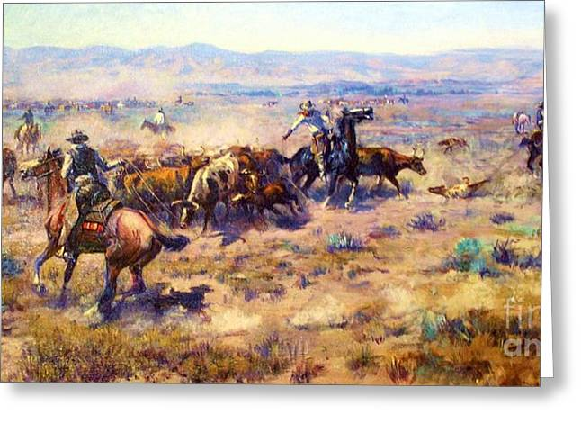 U.s. Open Greeting Cards - Roundup 2 Greeting Card by Pg Reproductions
