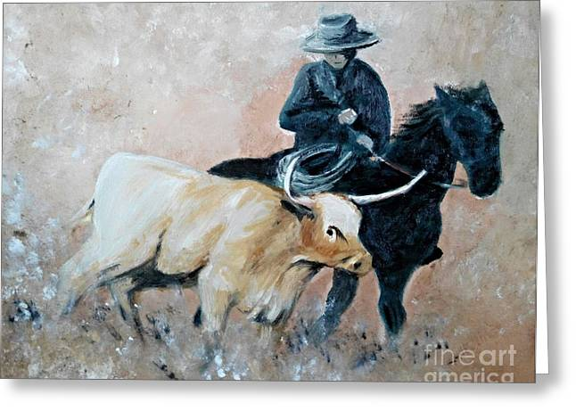 Roundup Greeting Card by Isabella F Abbie Shores LstAngel Arts