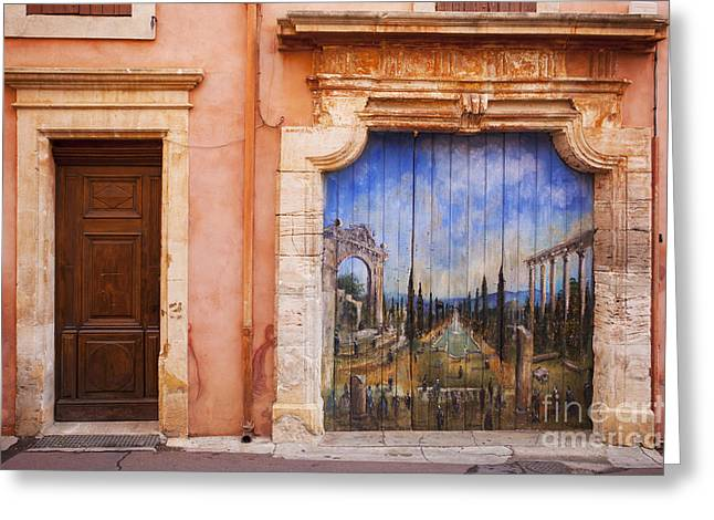 Ocre Greeting Cards - Roussillon Door Greeting Card by Brian Jannsen