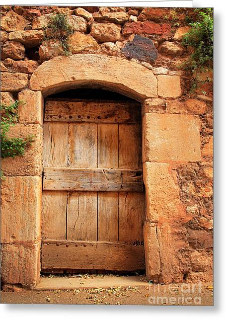 French Door Greeting Cards - Roussillon Door Greeting Card by Inge Johnsson