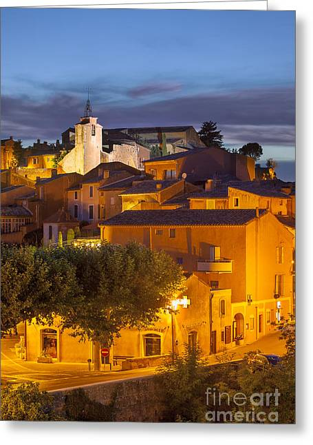 Provence Village Greeting Cards - Roussillon Twilight Greeting Card by Brian Jannsen