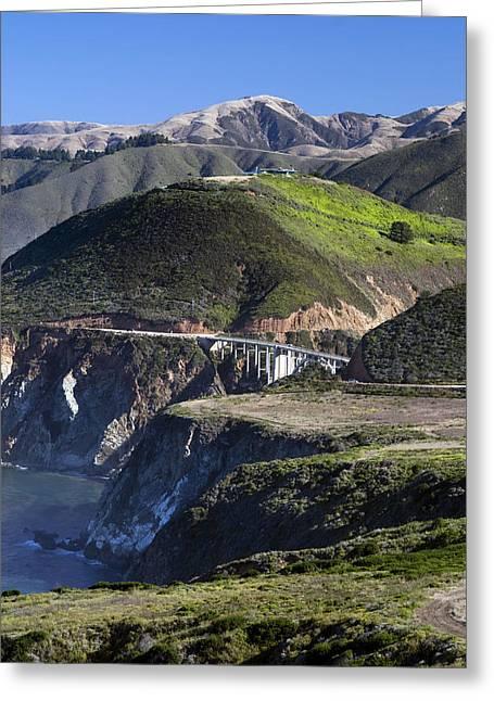 Bixby Bridge Greeting Cards - Route 1 Big Sur Coast Highway Bixby Bridge CA img1758 Greeting Card by Greg Kluempers
