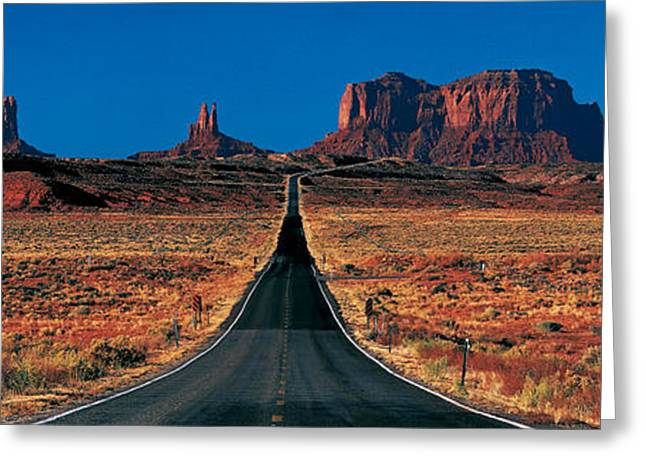 Roadway Photographs Greeting Cards - Route 163, Monument Valley Tribal Park Greeting Card by Panoramic Images