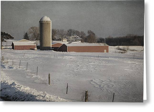 Winter Scenes Rural Scenes Greeting Cards - Route 45 Barn Greeting Card by Joan Carroll