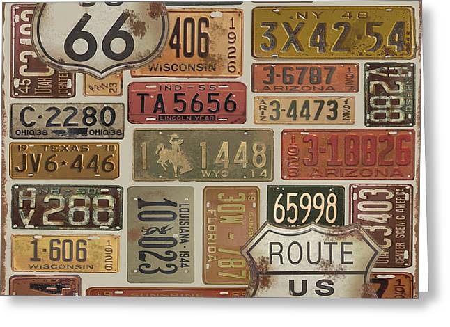 Old Signage Greeting Cards - Route-66-2 Greeting Card by Jean Plout