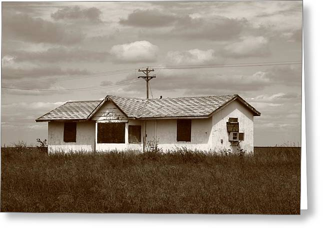 White Frame House Greeting Cards - Route 66 - Abandoned Farm House Greeting Card by Frank Romeo