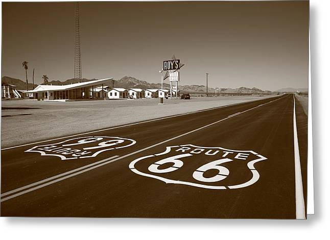 Distance Framed Prints Greeting Cards - Route 66 - Amboy California Greeting Card by Frank Romeo