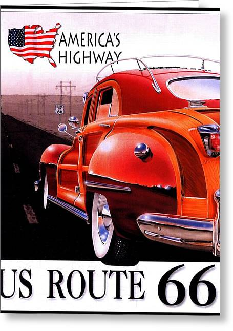 Road Travel Greeting Cards - Route 66 Americas Highway Greeting Card by Nomad Art And  Design