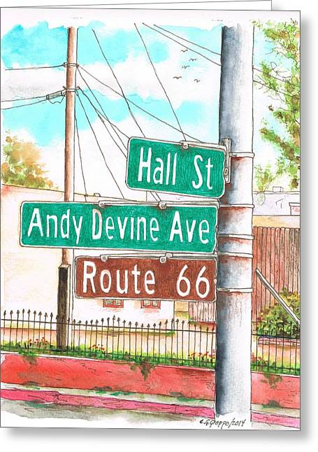 Devine Greeting Cards - Stree sign in Route 66 - Andy Devine Ave in Kingman -Arizona Greeting Card by Carlos G Groppa