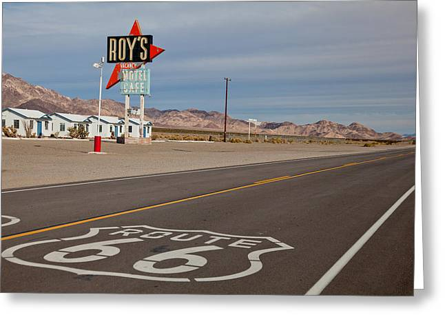 Roy Greeting Cards - Route 66 at Amboy Greeting Card by Matthew Bamberg
