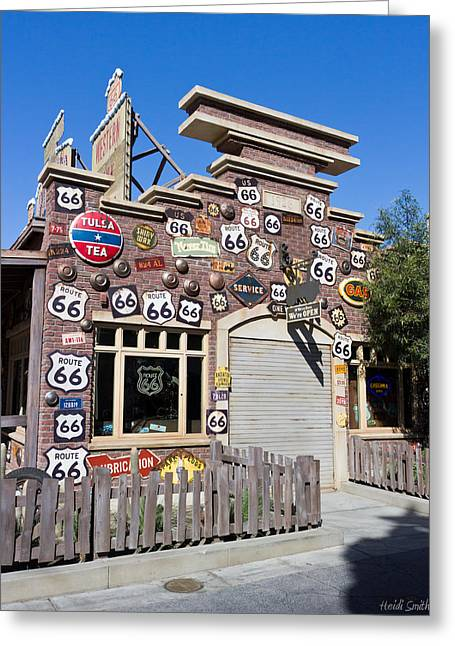 Vector Image Photographs Greeting Cards - Route 66 - Cars Land - Disneyland - California Adventure Greeting Card by Heidi Smith