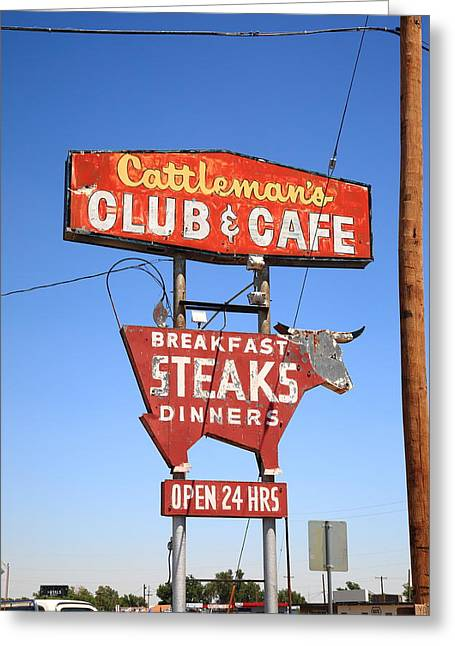 West Tx Greeting Cards - Route 66 - Cattlemans Club and Cafe Greeting Card by Frank Romeo