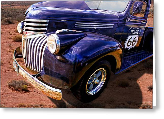 Old Pickup Greeting Cards - Route 66 Chevy 1941 Greeting Card by Gill Billington