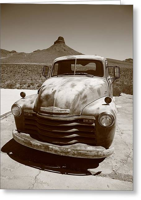 Jalopy Greeting Cards - Route 66 - Classic Chevy Greeting Card by Frank Romeo
