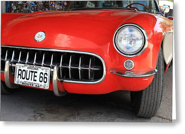 Historic Country Store Greeting Cards - Route 66 Corvette 7 Greeting Card by Frank Romeo