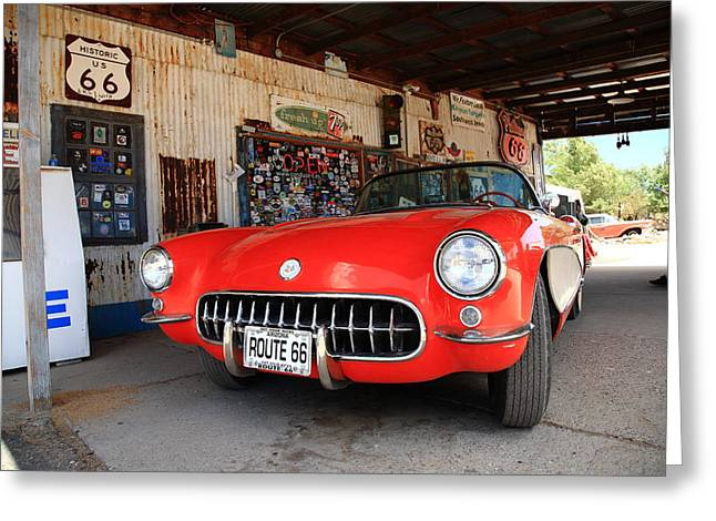 Best Sellers -  - Historic Country Store Greeting Cards - Route 66 Corvette Greeting Card by Frank Romeo