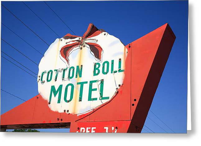 Boll Greeting Cards - Route 66 - Cotton Boll Motel Greeting Card by Frank Romeo