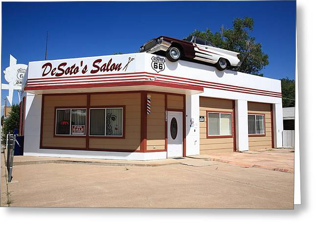 West Fork Greeting Cards - Route 66 - DeSotos Salon Greeting Card by Frank Romeo