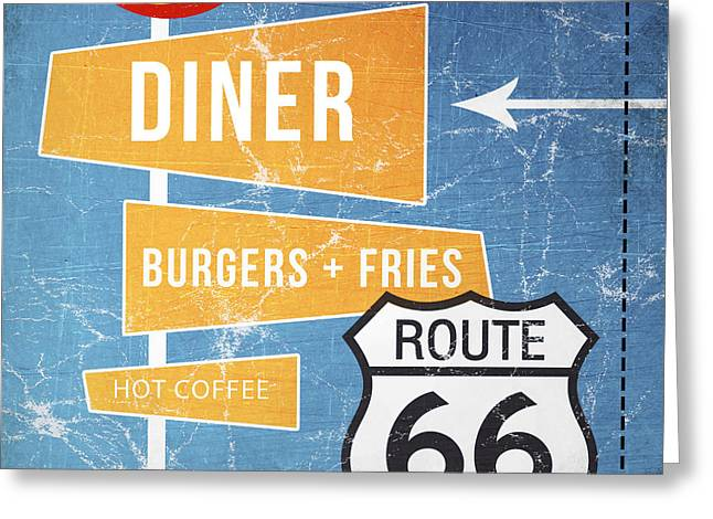 Burger Greeting Cards - Route 66 Diner Greeting Card by Linda Woods