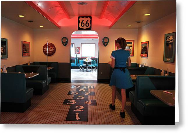 Waitress Greeting Cards - Route 66 Diner Greeting Card by Mark Sullivan