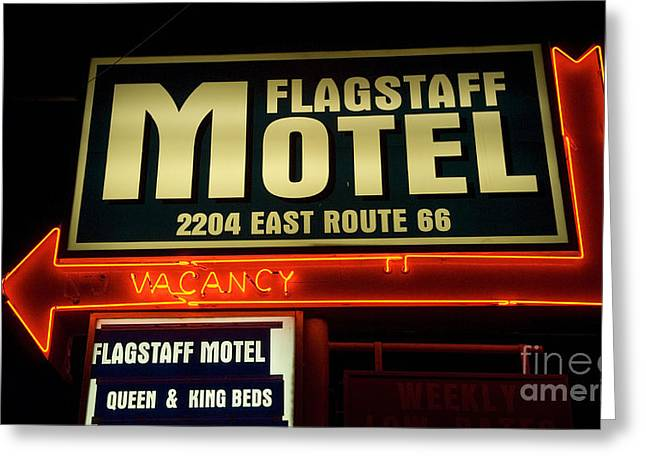 Sights Along Route 66 Greeting Cards - Route 66 Flagstaff Motel Greeting Card by Bob Christopher