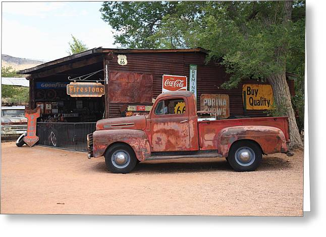 Best Sellers -  - Historic Country Store Greeting Cards - Route 66 Garage and Pickup Greeting Card by Frank Romeo